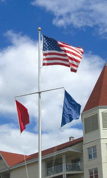 Aluminum flagpole with yardarms for nautical use