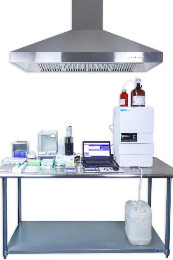 Testing station with exhaust hood