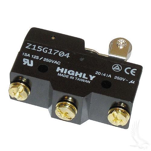 MICRO SWITCH , 3 TERMINAL, FOR EZGO TXT GAS & ELECTRIC 1965-UP NON-DCS, MARATHON 1983-1994