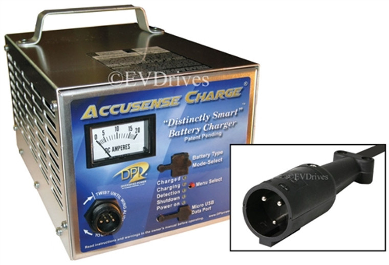 DPI Golf Cart Charger 48V 17A with Club Car Round Connector (For Cars Without OBC) - Gen IV - Accusense Intelligent Charger