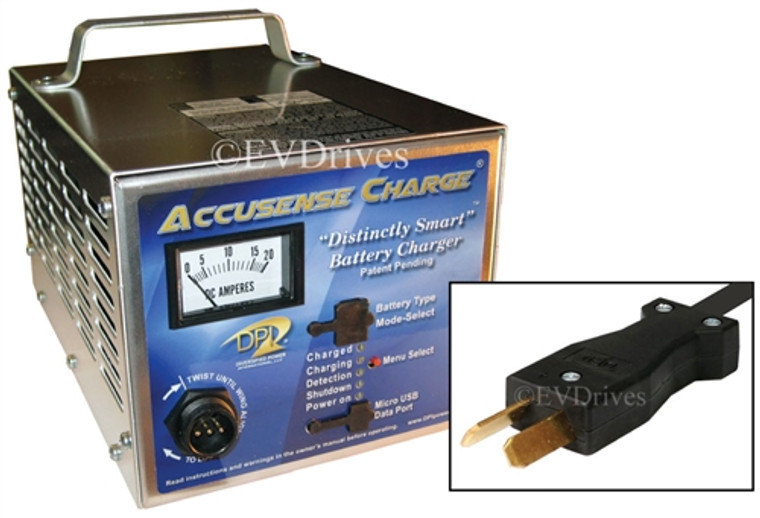 DPI Golf Cart Charger 48V 17A with CrowFoot Connector - Gen IV - Accusense Intelligent Charger