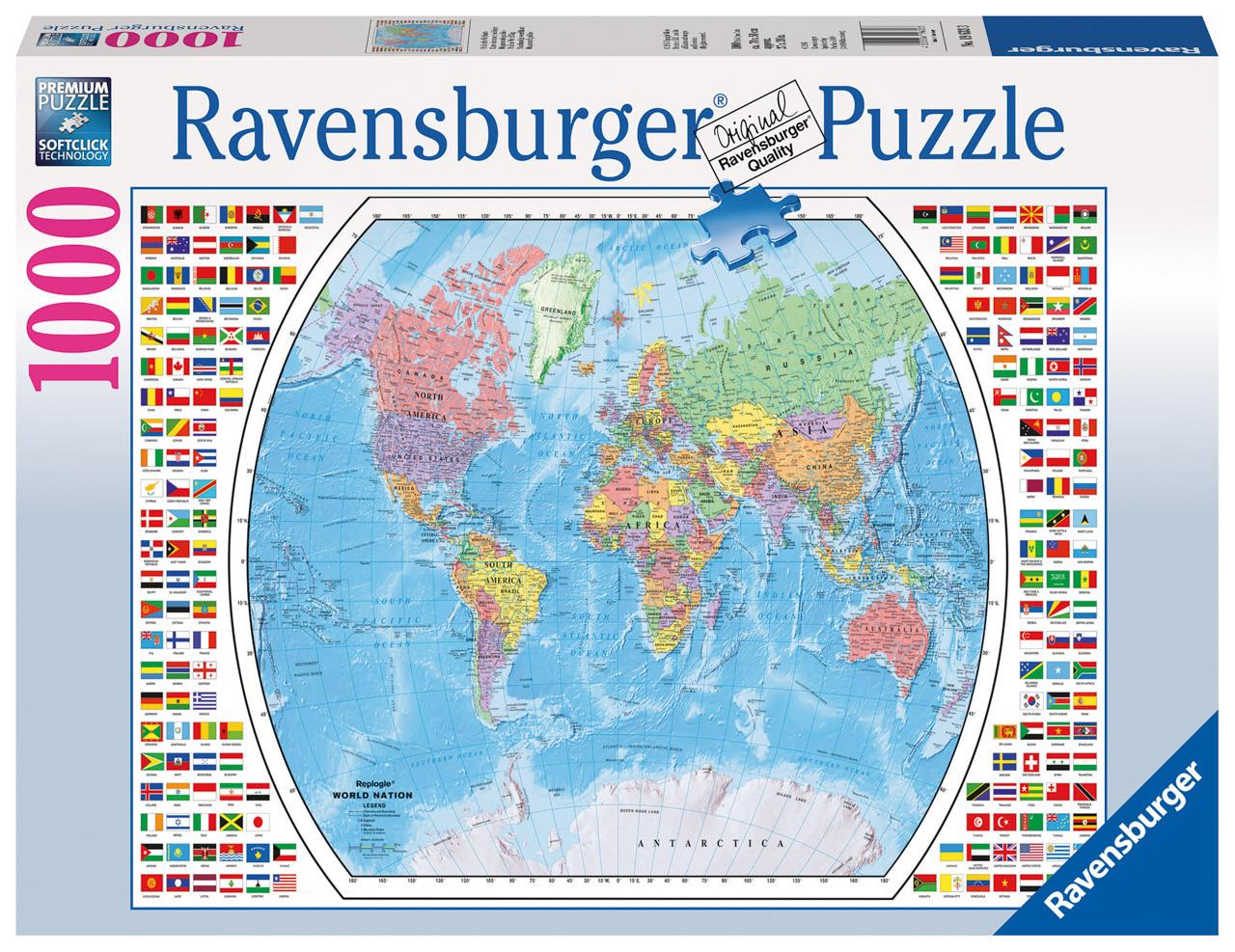 Ravensburger Political World Map Puzzle 1000 Pce Uncle Pete S Toys