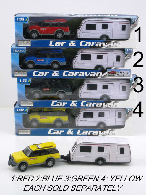 4 Wheel Drive & Caravan Set - Red