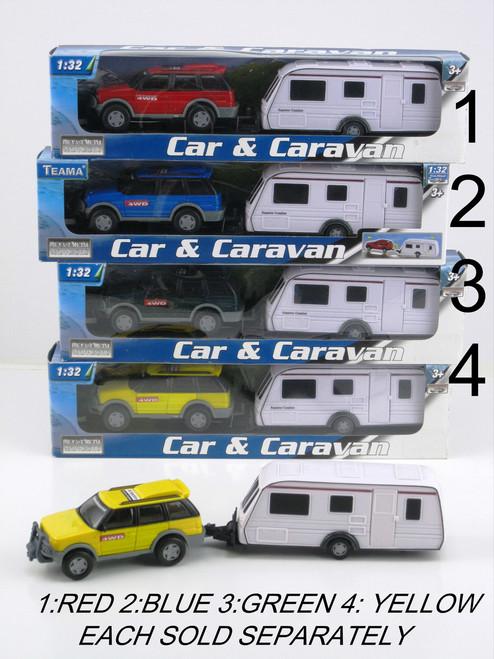 4 Wheel Drive & Caravan Set - Yellow