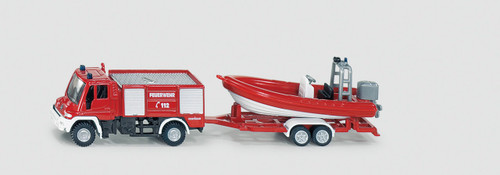 SIKU  FIRE ENGINE WITH BOAT  1:87 SCALE