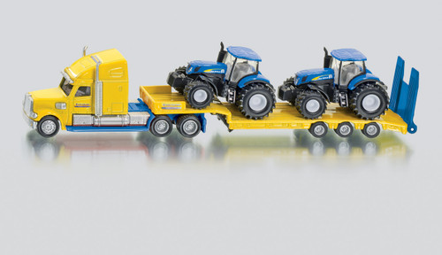 SIKU  TRUCK WITH 2 NEW HOLLAND TRACTORS  1:87 SCALE