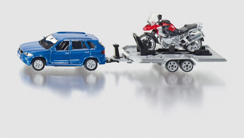 SIKU - CAR WITH MOTORBIKE AND TRAILER - 1:50 SCALE