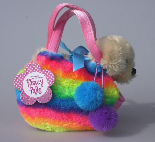 FP PET CARRIER - DOG IN FLUFFY RAINBOW BAG