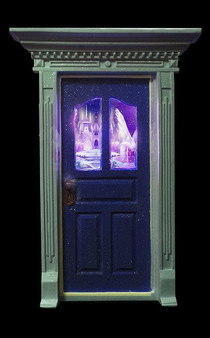 Mauve door with window picture and led lights