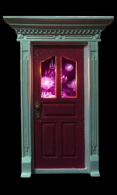 Dark pink fairy door with window picture and led lights