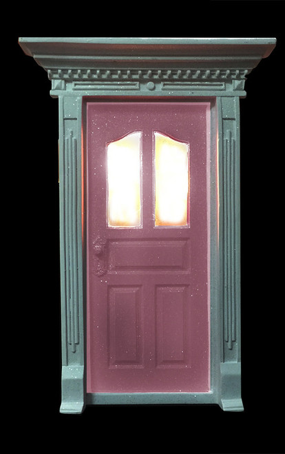 Light pink fairy door with window and led lights