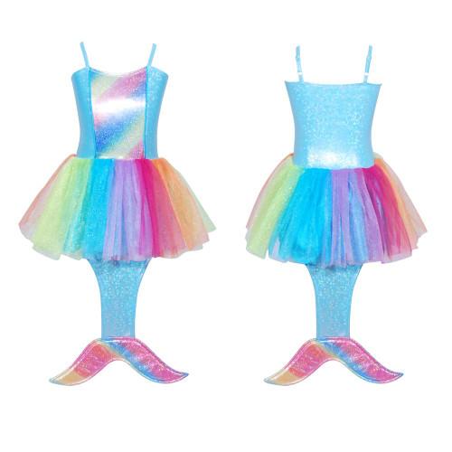 Rainbow mermaid dress size 3/4 blue