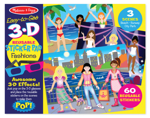 M&d easy to see 3d re-usable sticker - fashions