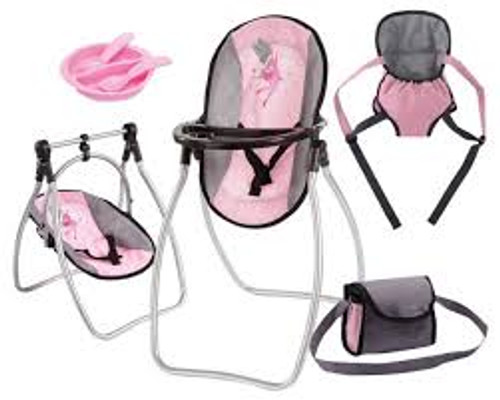 BAYER HIGH CHAIR SET - PINK & GREY