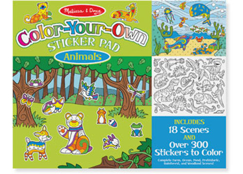 M&d colour-your-own sticker pad - animals