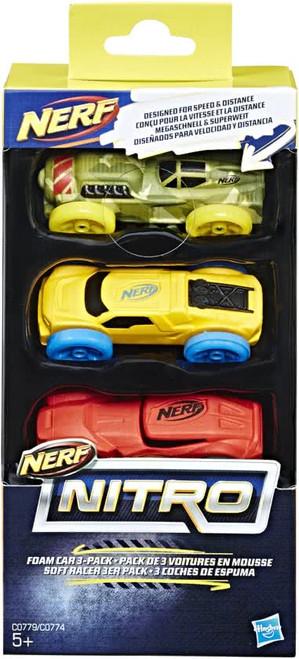 Nerf Nitro Foam Car 3 Pack - Camo/yellow/red