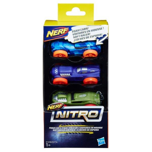 Nerf nitro foam car 3 pack blue/red/orange