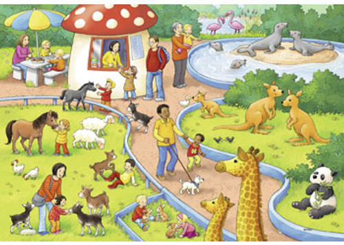 RAVENSBURGER - A DAY AT THE ZOO PUZZLE 2 X 24 PIECE