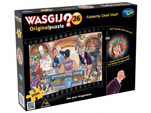 Wasgij? is the hilarious puzzle concept where the image on the box is simply a clue to the puzzle inside. Only the puzzle holds the answer! Illustrating the start of a brand new series of Celebrity Chief Chef, contestants are busy creating their masterpieces to impress the judges. As the first celebrity has stepped up, the judges are looking very surprised, so what has this celebrity and his fellow contestants created to get this reaction? Try to imagine you are the Health & Safety manager in the blue spotty dress and piece together what she can see. Don't puzzle what you see... use your imagination! Age 8+ years. Made in New Zealand. Approximate puzzle dimensions: 688mm x 493mm.