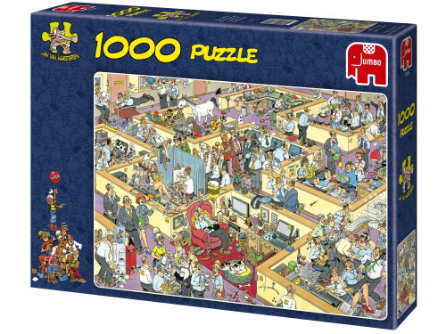 JVH THE OFFICE 1000pcs  The Office. A brilliant interpretation of how crazy office life can seem at times. Have fun piecing together this great comedy puzzle by Jan van Haasteren. A 1000 piece jigsaw puzzle made by Jumbo in the Netherlands. Puzzle measures 68 x 49 cm.