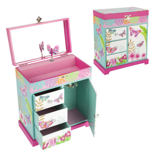 Tropical butterfly large music box - blue