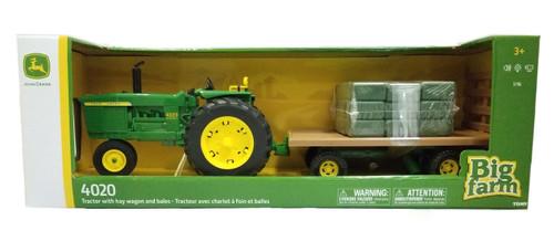 John Deere 1:16 Big Farm 4020 Tractor W/hay Wagon + 36 Hay B