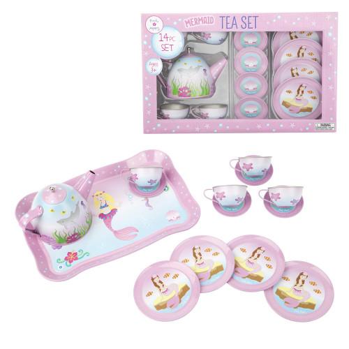 Mystic mermaid tin tea set - pale pink