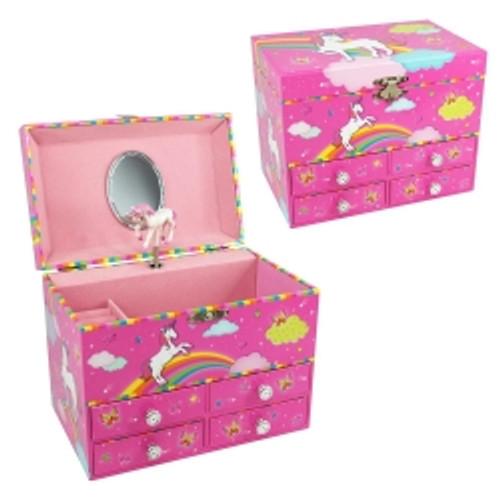 UNICORN & RAINBOWS MEDIUM MUSIC BOX - HOT PINK