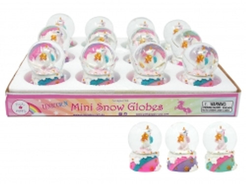 Mini unicorn w/star snowglobe - purple