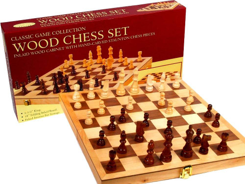 CHESS SET WOODEN 18 INCH INLAID BOARD