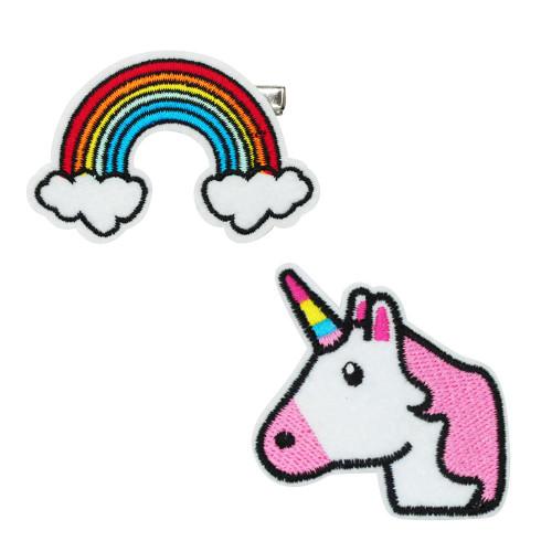 Rainbow & unicorn patch hairclips