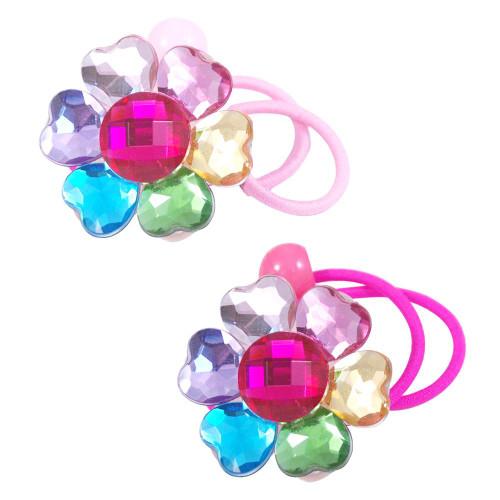 Multi coloured flower gem hairtie