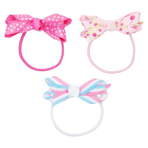 Spot/flower/stripe bow hair elastics
