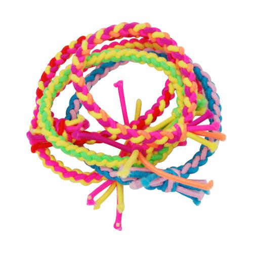 5 pack of neon plaited elastics