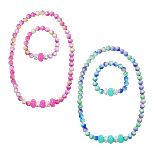 Ombre sparkle necklace & bracelet set