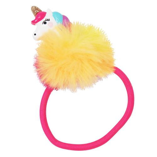 Unicorn pom pom hair elastics