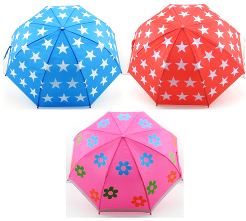 Kiddy Safety Nylon Umbrella - Red With Stars