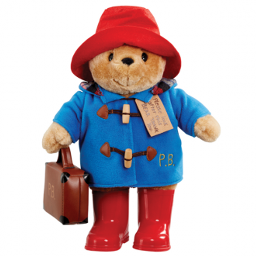 Paddington bear with boots embroidered coat and suitcase