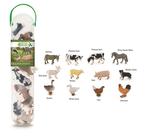 Gift Set 12 Piece Farm Animals In Tube
