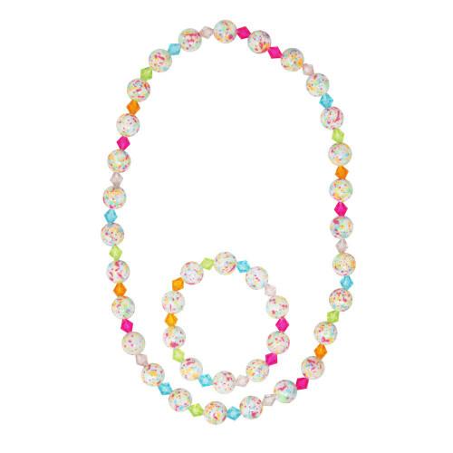 Rainbow freckles necklace & bracelet set