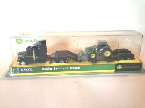 Farm Semi 1:64 Black Hauler With Tractor