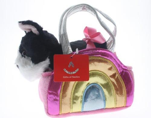 Fancy pal bulldog in shiny pink multi bag