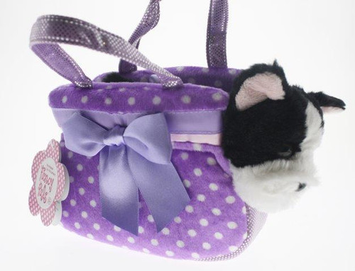 Fancy pals pet carrier bulldog in purple polka dot bag