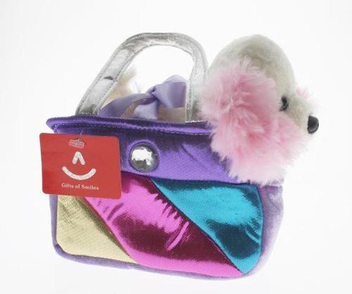 Fancy pal cocker spaniel in square rainbow bag