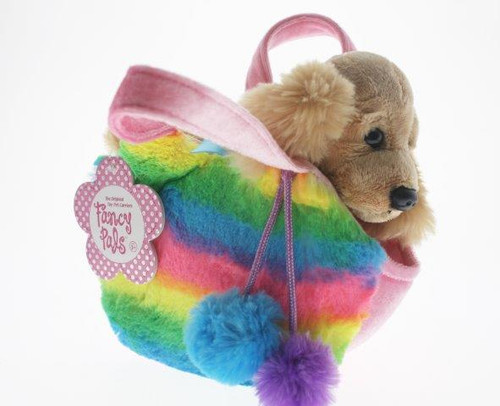 Fancy pals pet carrier cocker spaniel in rainbow bag