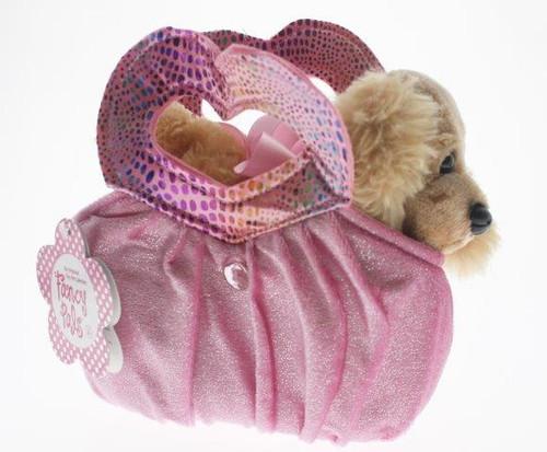 Fancy pals pet carrier cocker spaniel in pink heart bag