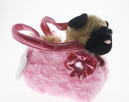 Fancy pals pet carrier pug in pink fluffy bag