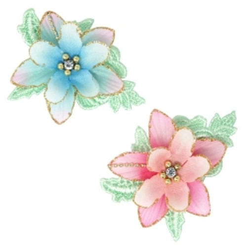 Fabric flower & lace boutique hairclip