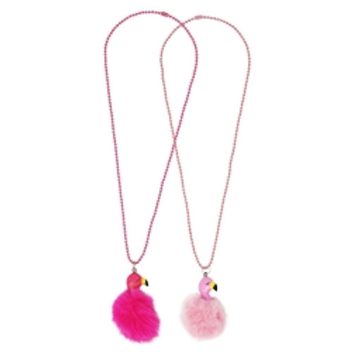 Fluffy flamingo ball chain necklace