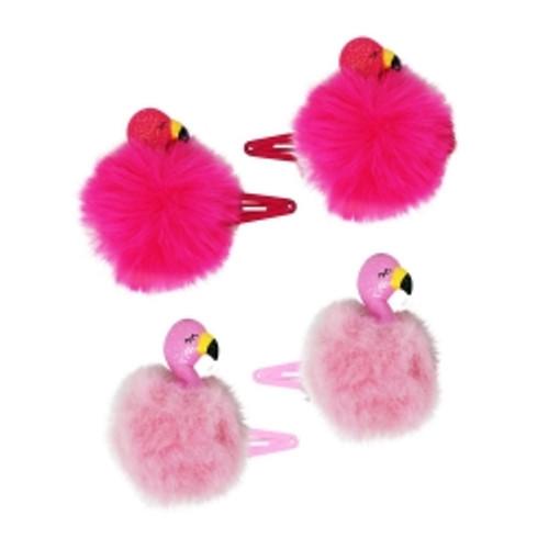 Fluffy flamingo hairclips